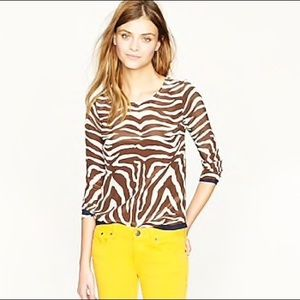 J Crew Zebra print silk blouse with navy trim